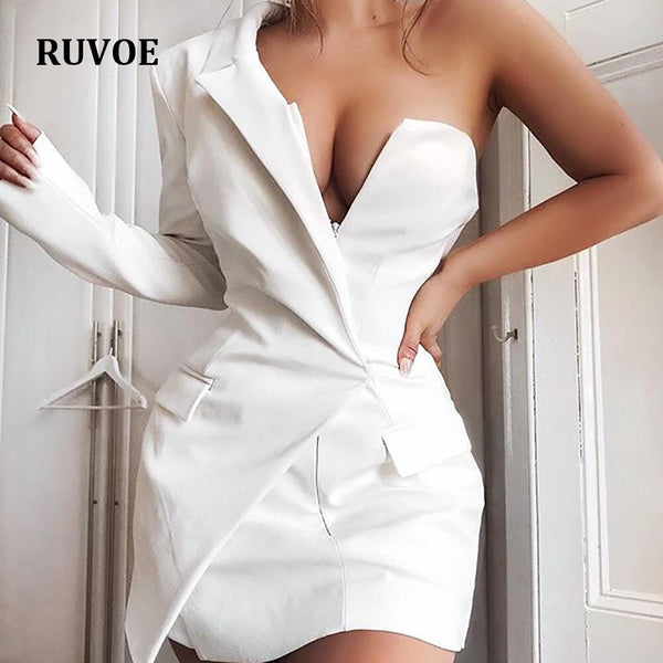 New White Black One Shoulder Fashion Dress Autumn Winter Long Sleeve Slim Sheath Celebrity Party Dress Vestiods Women SDE-06