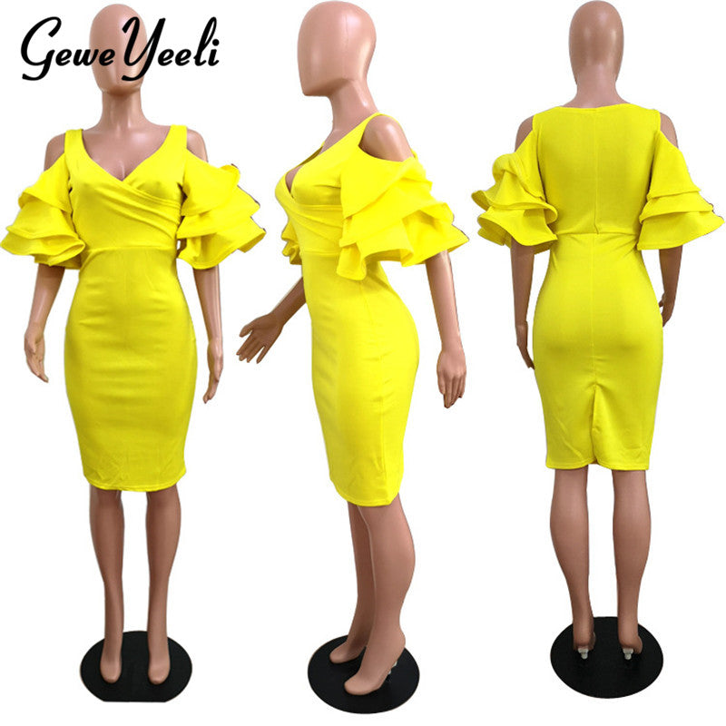 7952ac8ae5 Hover to zoom · New Women Dress Summer Vestidos Verano 2018 Celebrity Party  Dresses Yellow Red Ruffles ...