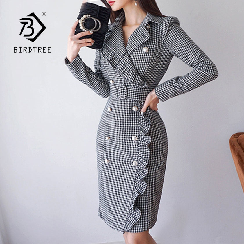 558365f3480e New Women Plaid Notched Double Breasted Ruffles High Waist Bodycon Blazer  Dress With Belt Elegant Office. Hover to zoom