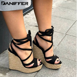 New Women Summer Platform Sandals Open Toe High Heels Wedge Casual Beach Bandage Ankle Cross-tied Strap Shoes Plus Size 35-43