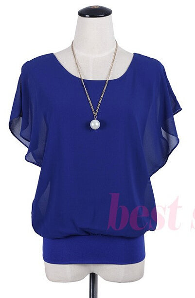 1c1fddee91ceb ... 2018 Women Summer Chiffon Blouse Plus Size Ruffle Batwing Short Sleeve  Casual. Hover to zoom