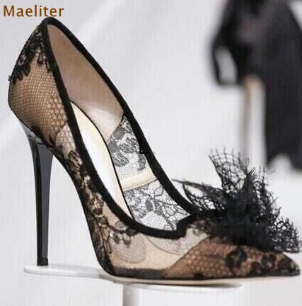 New Year Spring Gorgeous Black Lace Pumps Stiletto Heels Pointed Toe Floral Shoes Mesh Transparent Dress Pumps Flower Shoes