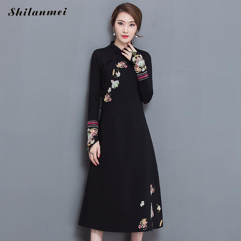 56d8d9aad Hover to zoom · New arrival Spring Autumn cheongsam black dress vintage  fashion plus size embroidery Flowers elastic chinese traditional