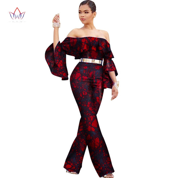 New arriving Africa Cotton Wax Print Romper African Bazin Riche Sexy Jumpsuit For Women Dashiki Elegant Jumpsuit WY2590