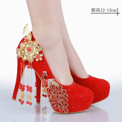 Wedding Dress Shoes.New Red Bride Shoes Wedding Shoes Chinese Wind Wedding Dress Diamond High Heels Female Chinese Korean Shoes Big Size Large