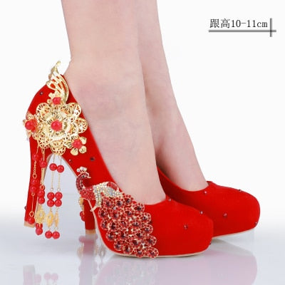 Shoes For Wedding.New Red Bride Shoes Wedding Shoes Chinese Wind Wedding Dress Diamond High Heels Female Chinese Korean Shoes Big Size Large