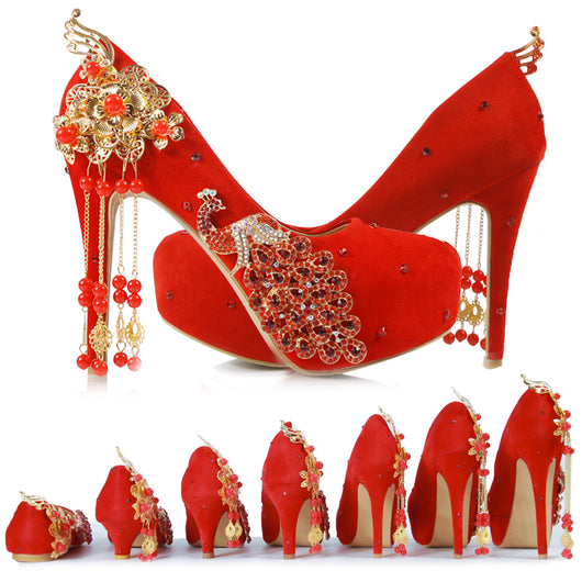 New Red Bride Shoes Wedding Shoes Chinese Wind Wedding Dress