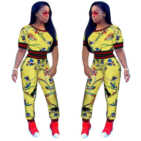 New style African Women clothing Dashiki dres fashion Print elastic Sports two piece top+ pants size 3XL 7072