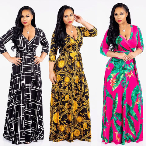 New style African Women clothing Dashiki fashion Print elastic cloth Medi sleeves dress Super size S M L XL 2XL 3XL S2022