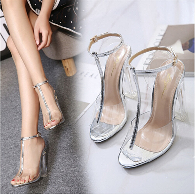 ... New women gladiator sandals ladies pumps high heels shoes woman Clear  Transparent T-strap party 297d3afb56aa