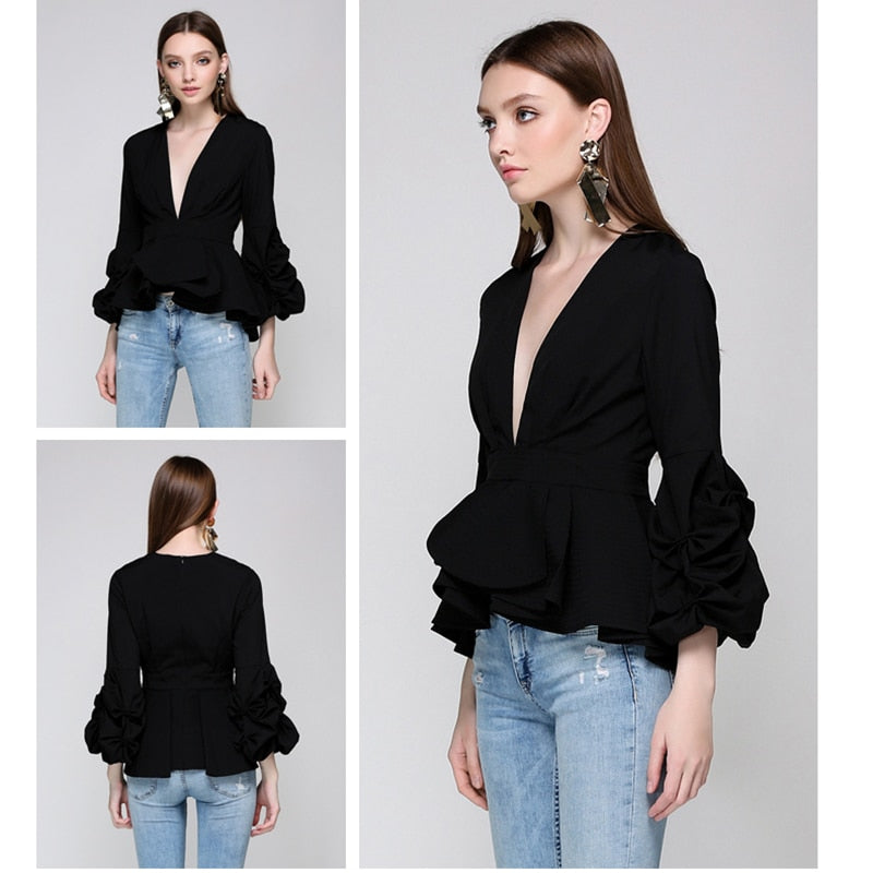 069ea11218 ... Newest Fashion 2018 Runway Designer Tops Blouse Women s Sexy Deep V  Neck Lantern Sleeve Ruffle Blouse ...