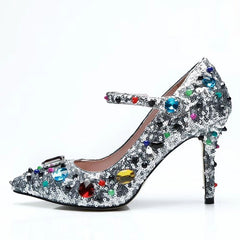 49ba1ad3a42ba2 ... Newest Luxury Rhinestone High Heels Women Pointed Toe Mixed Color  Diamond Bling Sequined Wedding Shoes Woman