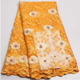 Newest design  Twin colors Lace High quality African French Tulle Lace With Beads for women dress for wedding NA414B-6