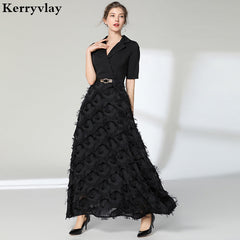 Noble Elegant Long Night Black Party Dresses Vestidos Mujer 2019 Spring  White Women Maxi Dress Vestido ... e35b4438aa42