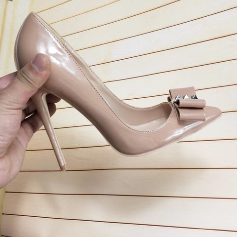 Nude colored rivets high heels sharp rivets high heels women's shoes 10CM 12cm pointed shallow mouth high heels
