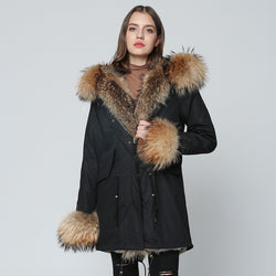 OFTBUY 2018 Long Parka Winter Jacket Women Parkas Real Fur Coat Natural Raccoon Fur Hood Real Rabbit Fur Liner Luxury Streetwear