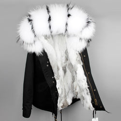 OFTBUY 2018 parka winter jacket women parka real fur coat big natural raccoon fur collar hooded rabbit fur parkas warm thick  1