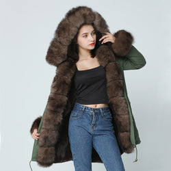 OFTBUY brand 2018 new long Camouflage winter jacket women outwear thick parkas natural real fox fur collar coat hooded pelliccia
