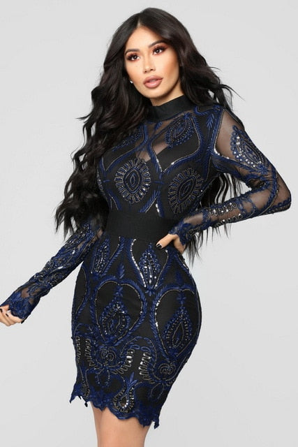 cc4264540e8f ... Long Sleeve Bodycon Sequined Party Dress Blackless Elegant. Hover to  zoom