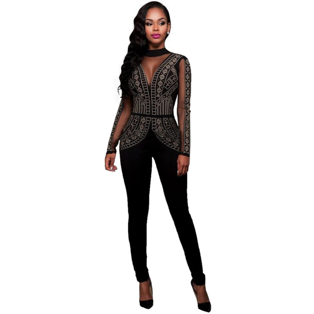 30ca5ae7130277 Hover to zoom · OKAYOASIS Long Sleeve Mesh Patchwork Rhinestone Sexy  Bodysuit Autumn Fitness Backless Women Tops Party Elegant Jumpsuit