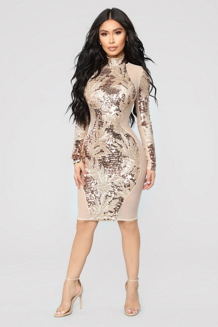 7ac8f463 Hover to zoom · OKAYOASIS Sexy Women O-neck Long Sleeve Sequined Bodycon  Party Dress Mesh See Through Backless