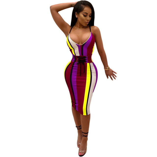 2f305633cd032 OKAYOASIS Striped Sexy Bodycon Dress Women 2018 Summer Club Party Dresses  Female Deep V Neck Bandage. Hover to zoom
