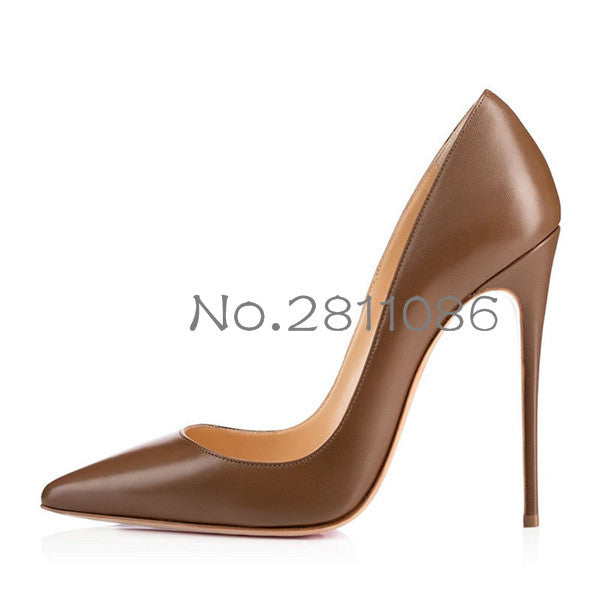 e6796cffd9 OKHOTCN Sexy Rivets Shiny/Patent Leather High Heels Nude Pointed toe ...