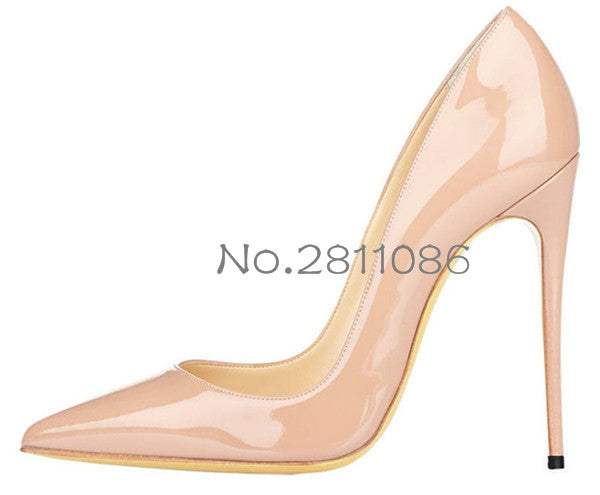 3fd22a9017ed ... OKHOTCN Sexy Rivets Shiny Patent Leather High Heels Nude Pointed toe  Pumps Shoes Party Shoes ...
