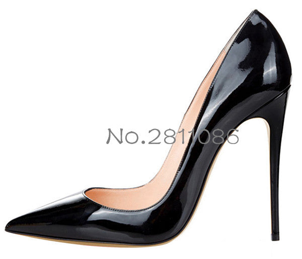 ... OKHOTCN Sexy Rivets Shiny Patent Leather High Heels Nude Pointed toe  Pumps Shoes Party Shoes ... d5a5d16b4727
