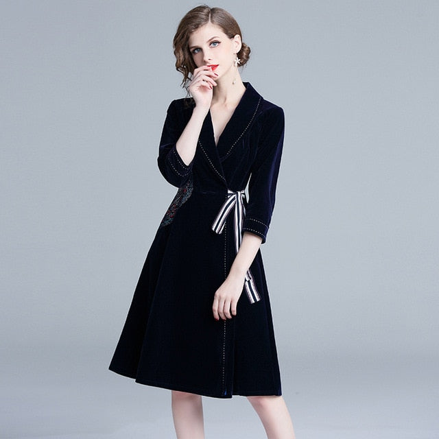 9facf969a1d OL Dark Blue Embroidery Velvet Winter Dress Ropa Mujer Invierno 2019 Women  Midi Party Gothic Women. Hover to zoom