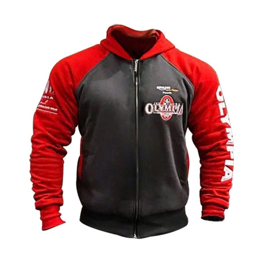 OLYMPIA Men Gyms Hoodies Gym Fitness Bodybuilding Sweatshirt Zipper Closure Sportswear Male Workout Hooded Jacket Clothing