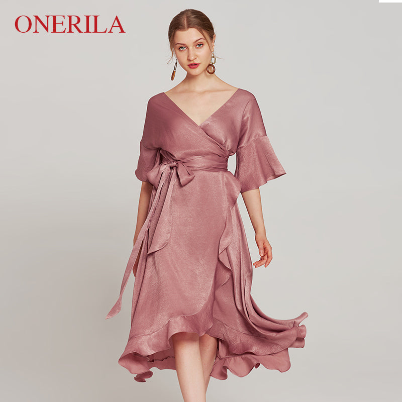 afbb3272683 ONERILA 3 Colors Half Sleeve Sexy Deep V Ruffle French Pink Gray Red ...
