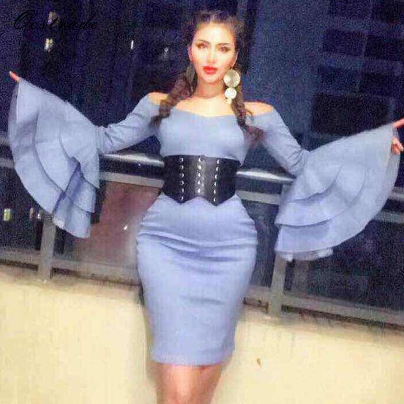 8f66f285fe Ocstrade Blue Off Shoulder Long Sleeve Mini Pagoda Sleeve Plain Latest New  Year Eve Christmas Party Bodycon Dress HW247-Blue