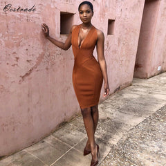 ... Ocstrade Woman Summer Sexy Dress 2018 Party Dress Vestidos New Arrivals  Toffee Wrap Plunge Bodycon Bandage 373d5286504e