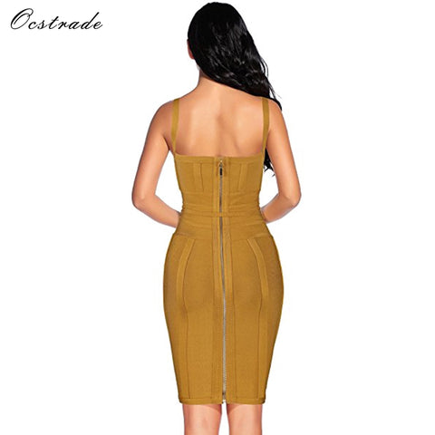 42d7650a9b Ocstrade Women Bandage Dress 2018 Rayon Sleeveless Summer New Arrivals Sexy  Deep v Neck Vestido Bodycon Bandage Dress Club Party