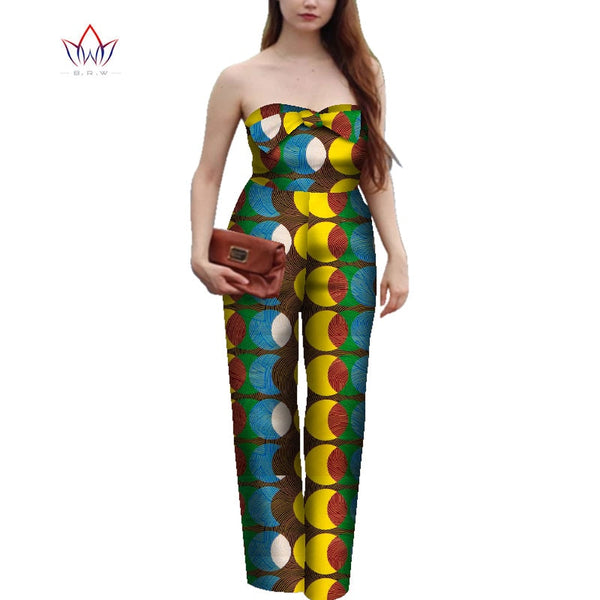 Off Shoulder African Women Clothes Print Jumpsuit Bazin Riche Traditional African Clothing Party Women Romper Jumpsuit WY4343