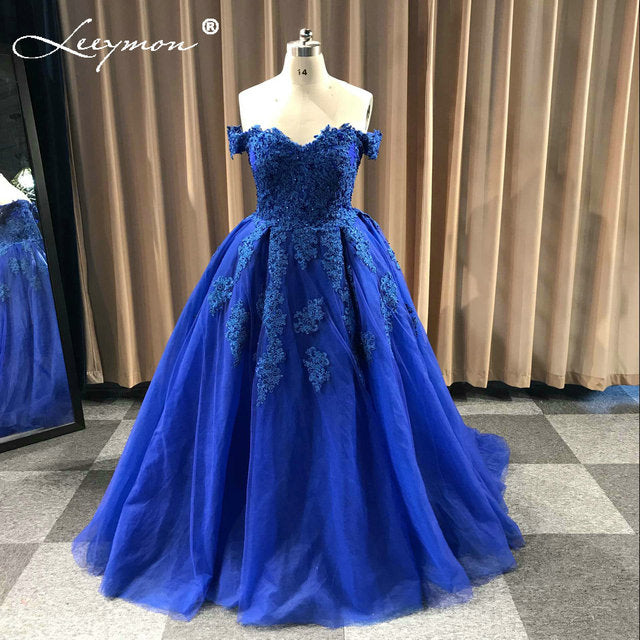Off Shoulder Beaded Lace Tulle Evening Dresses 2018 Plus Size Wedding Party  Dress Ball Gown Formal Dress Wedding Gown