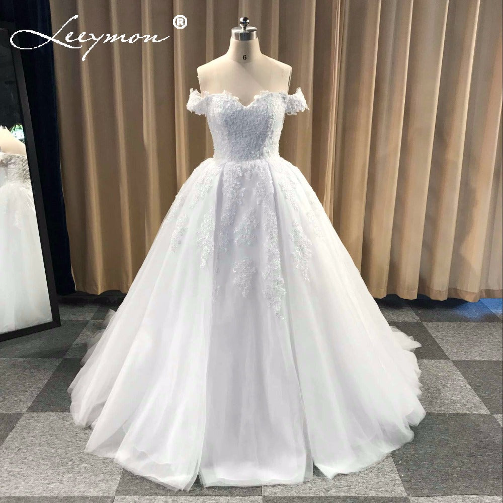 Off Shoulder Beaded Lace Tulle Evening Dresses 2018 Plus Size Wedding Party  Dress Ball Gown Formal Dress Wedding Gown 1 2