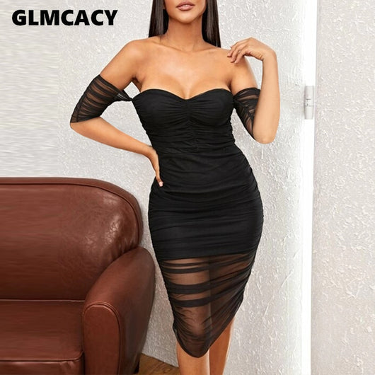 Off Shoulder Bodycon Dress Women Short Sleeve Pleated See Through Backless Sexy Stretch Party Night Dresses