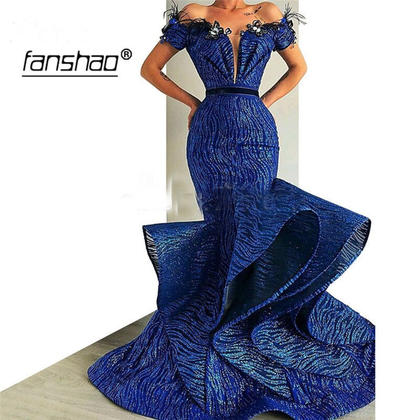 Off Shoulder Evening Dresses Mermaid Deep-V Lace Appliques Ruffle Belt Royal Blue Special Occasion Party Dress