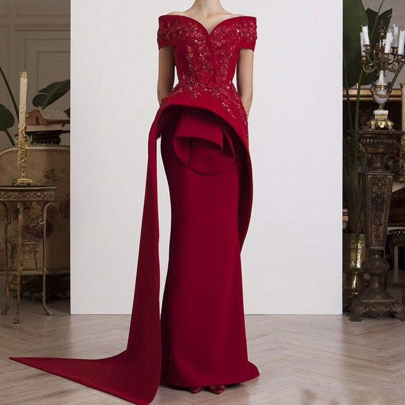 768cc3f8dc Off Shoulder Evening Gowns Long abiye Wine Red Formal Gowns abendkleider  Burgundy Evening Dresses Elegant vestido de festa longo