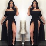 Off Shoulder Slash Neck Sexy Women Long Dresses Maxi Dress Backless Side Split Bodycon Party Night Robe Black Dresses EY11