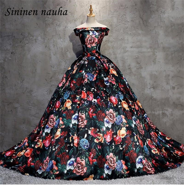 Off The Shoulder Long Evening Prom Dresses Print Floral Prom Formal Party Ball Gown Juniors Vestidos De Festa Robe De Soiree 320
