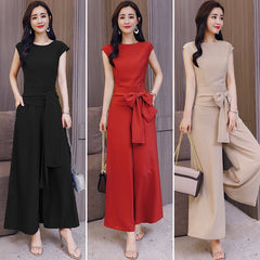 1d674930a97 Office Lady Sleeveless Two Piece Set Top And Pants Wide Leg Trousers 2  Piece Set Women ...