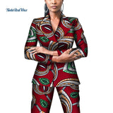 Office Women African Print Suit and Pants Sets Dashiki Patchwork 2 Pieces Pants Sets for Women African Design Clothing WY4310