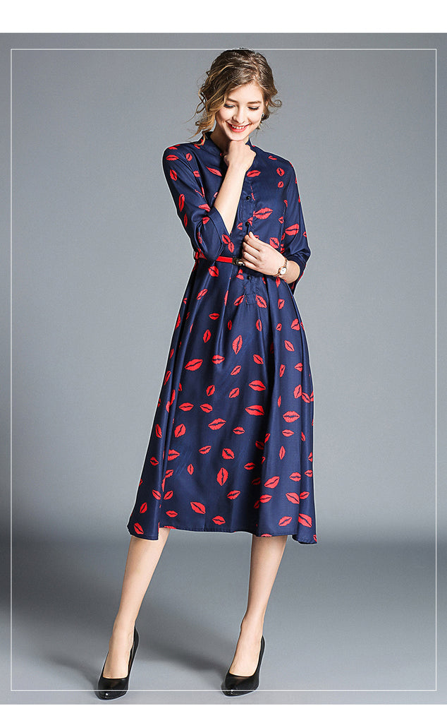 3d1cceb732 ... Red Blue Polka Dot. Hover to zoom · Office Work Lip print Dresses ...