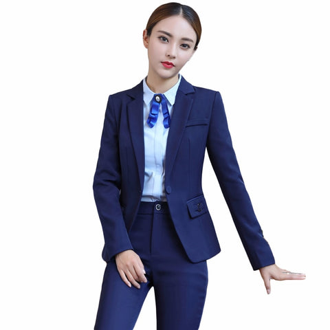 92197b4b1805 Image of Office uniform design blazer with trousers two piece set business  trouser suits blue black ...