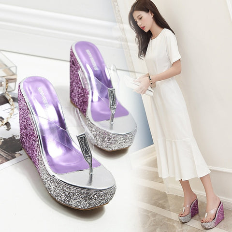 Open Toe   Women Platform Flip Flops High  Outside Slippers Women  WedgesFashion Classics Concise Ladies Shoes