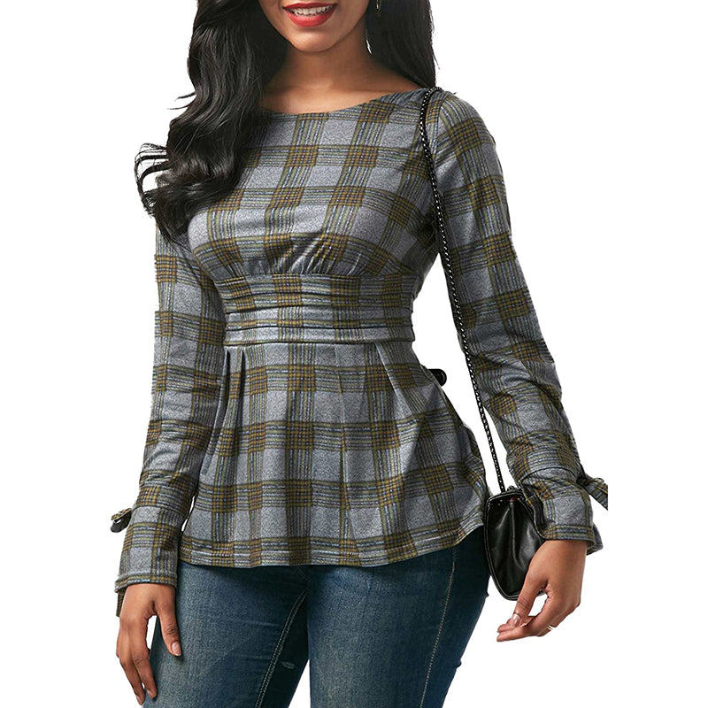 Completely new Open back tie bow peplum top blouse shirt Women plaid striped  PH04