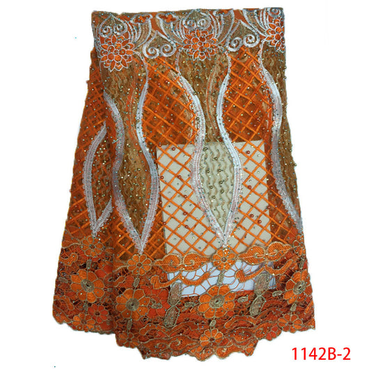 Orange Color high quality guipure Lace african cord lace african lace fabric 5yard/lot negiria wedding dress NA1142B-2